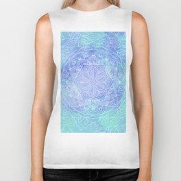 Blue Mandala Pattern Zen Painting Biker Tank