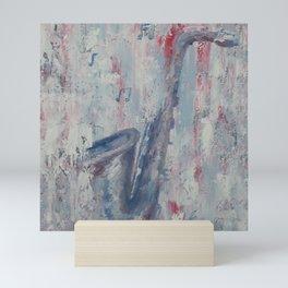 Saxophone, winter music, SOUND OF LIFE, saxo pastel original oil painting by Luna Smith Mini Art Print