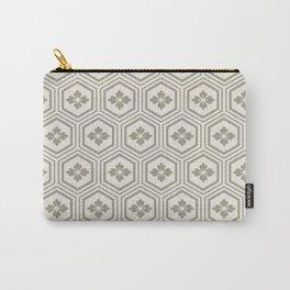Japandi Style Pattern - Kikko (Tortoiseshell) - Dry Grass Carry-All Pouch