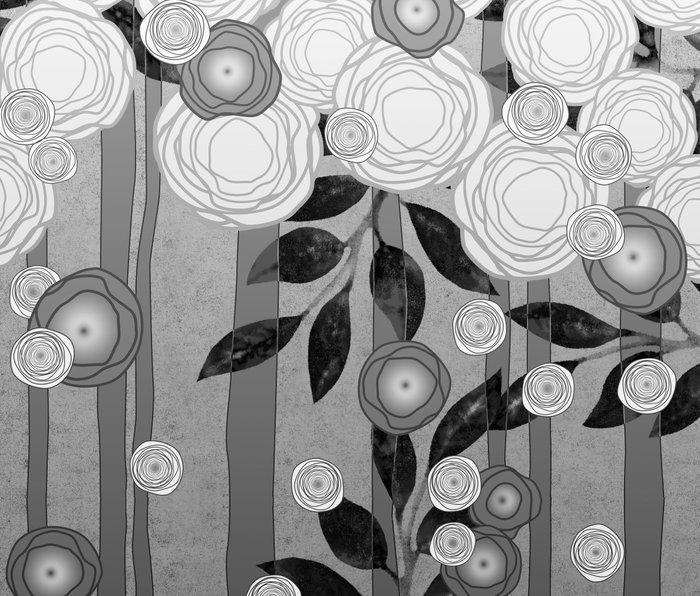 Black and White Flowers Design Metal Travel Mug