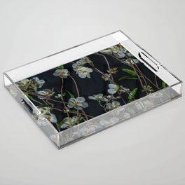 White Flowers Acrylic Tray