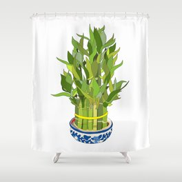 Lucky Bamboo in Porcelain Bowl Shower Curtain