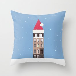 New York City NYC Brownstone Snowy Christmas Throw Pillow