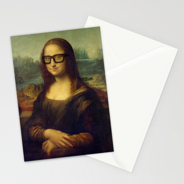 Hipster Mona Lisa in her Hipster Glasses Stationery Cards