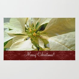 Pale Yellow Poinsettia 1 Merry Christmas S5F1 Rug
