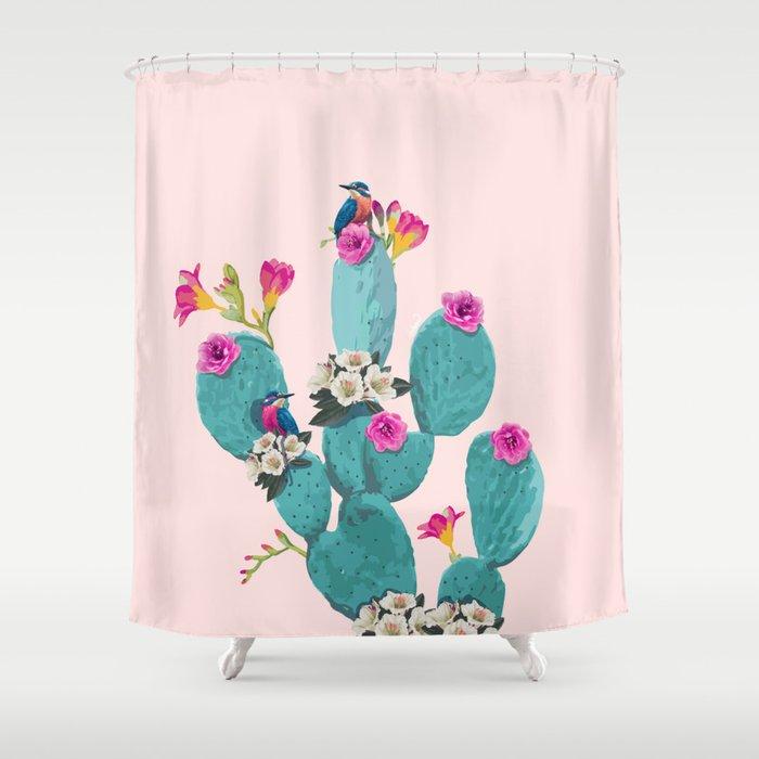 Cactus Hummingbirds Shower Curtain