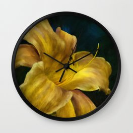Golden Lily Wall Clock
