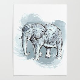 Watercolor Elephant Poster