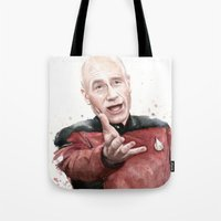 picard Tote Bags featuring Annoyed Picard Meme  by Olechka