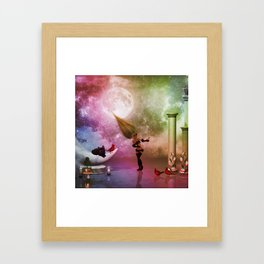 Little fairy with birds and cats Framed Art Print