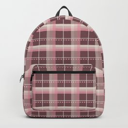 AFE Pink and Chocolate Brown Plaid Backpack