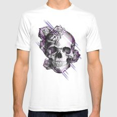 Rose skull on aztec pixel pattern White Mens Fitted Tee SMALL