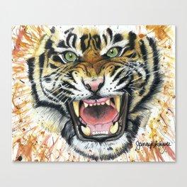 Tiger Roaring Canvas Print
