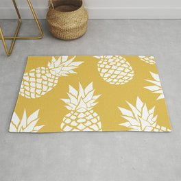 Summer, Tropical, Pineapples, Yellow Rug