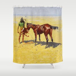 "Frederic Remington Western Art ""Hunted Down"" Shower Curtain"