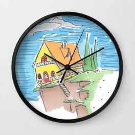 HOUSE ON A GREEN CLIFF Wall Clock