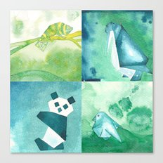 Chameleon, Bird, Penguin and Panda Bear Canvas Print