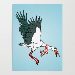 Crane Wearing A Scarf Poster