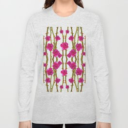 "FUCHSIA PINK ""ROSES & THORNS"" WHITE ART Long Sleeve T-shirt"