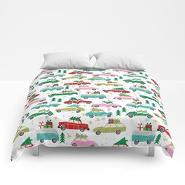 Christmas car tradition christmas trees holiday pattern winter festive Comforters