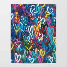 Graffiti Hearts Love (Color) Poster