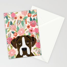 Boxer dog breed floral pattern background pet gifts dog breed dog mom gifts Stationery Cards