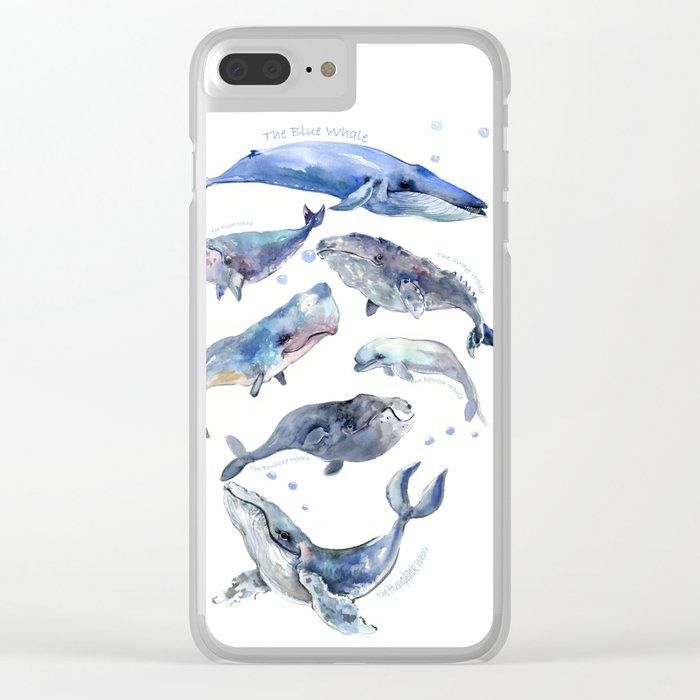 Whales, Whale design, whale wall art, sea, marine aquatic animal art, school learning wall Clear iPhone Case