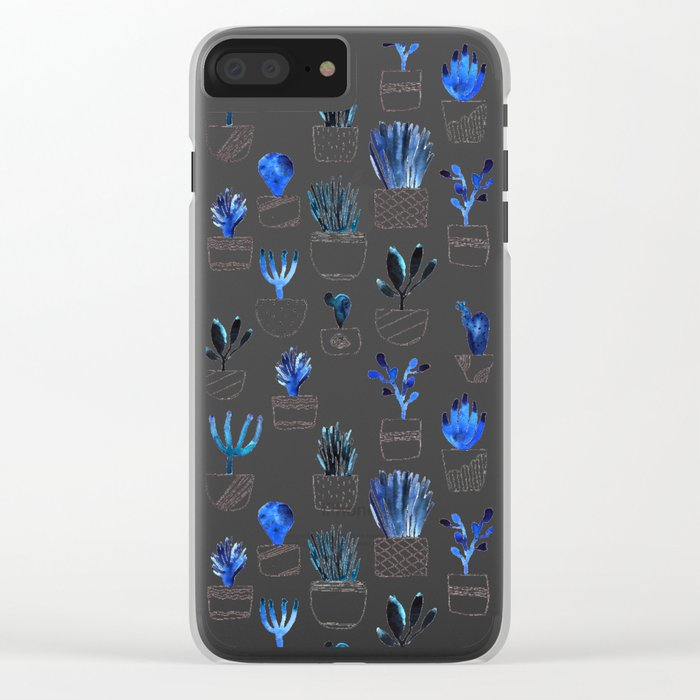 Blue cacti Clear iPhone Case