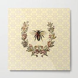 Vintage Bee Wreath Metal Print