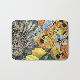 Yellow Parrots Bath Mat
