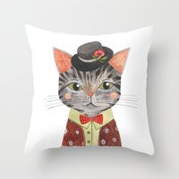 oana befort Throw Pillows featuring COOL CAT by Oana Befort
