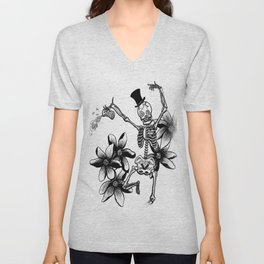 Skeleton with flowers and beer Unisex V-Neck