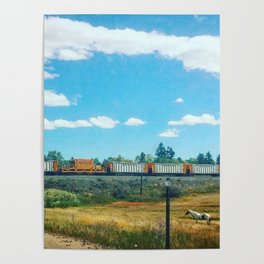 Horse and Train Poster