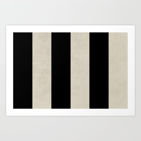 vintage black stripes Art Print
