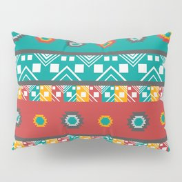 Native shapes and lines in red and green Pillow Sham