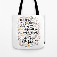 jane austen Tote Bags featuring Jane Austen - Intolerably Stupid  by Evie Seo