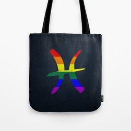 LGBT Gay Pride Flag Pisces Zodiac Sign Tote Bag
