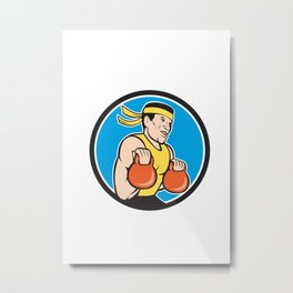 Strongman Lifting Kettlebell Circle Cartoon Metal Print