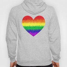 Pride Geometric Rainbow Heart LGBT Love and Support Hoody