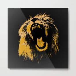 Lion print black and yellow art print Metal Print