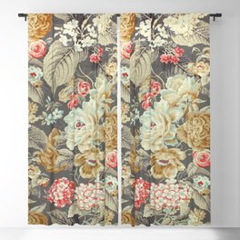 Gray Gold White Rose Pattern Blackout Curtain