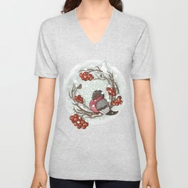 Bullfinch under snow Unisex V-Neck