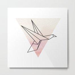 Origami Flying Bird Metal Print