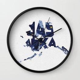 Alaska Typographic Flag Map Wall Clock