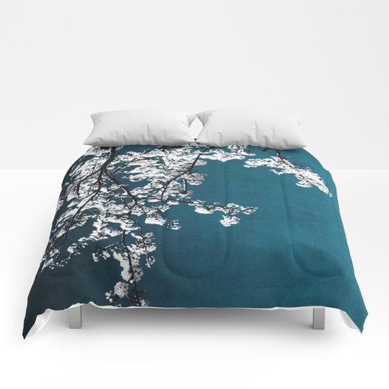 white blossoms Comforters