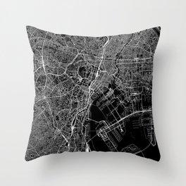 Tokyo Black Map Throw Pillow