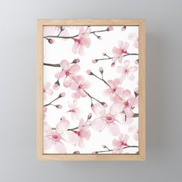 Watercolor cherry blossom Framed Mini Art Print