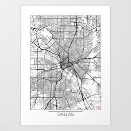 Dallas Map White Art Print