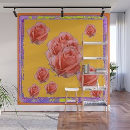 Peachy-Pink Tea Roses Orange-Lilac Art Wall Mural