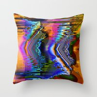 skiing Throw Pillows featuring Swiftly Skiing by Robin Curtiss